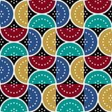Геометрическая безшовная картина с полуокружностями и точками Стоковое фото RF