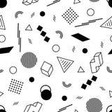 Геометрическая безшовная картина черных диаграмм на белом фоне Стоковая Фотография RF