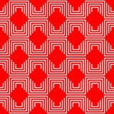 Геометрическая безшовная красная и белая картина Стоковые Фотографии RF