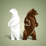 Геометрическая белизна и бурые медведи Стоковое фото RF