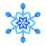 Геометрическая голубая шестиугольная снежинка на белой предпосылке иллюстрация вектора