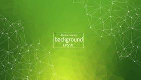 Геометрическая зеленая полигональная молекула и связь предпосылки Соединенные линии с точками Предпосылка минимализма Концепция  иллюстрация штока