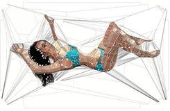 Геометрическая иллюстрация сексуальной женщины иллюстрация штока