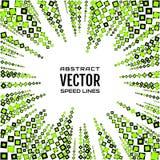 Геометрическая иллюстрация случайных различных косоугольников размеров, квадратов черных и ярких ых-зелен цветов Радиальные линии Стоковое фото RF
