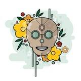 Геометрическая иллюстрация черепа с цветками на голубой предпосылке иллюстрация штока