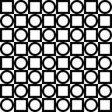 геометрическая картина безшовная Черные круги и дублирование квадратов вектор иллюстрация вектора