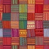 Геометрическая картина в стиле заплатки орнамент безшовный этническо Стоковая Фотография