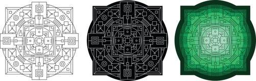 Геометрическая картина круга с квадратом для книжка-раскраски стоковые изображения