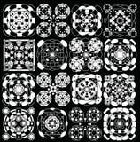 Геометрическая картина черно-белая, эллипсис и установленные квадраты Стоковые Фото