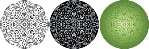 Геометрическая мандала для книжка-раскраски Черная, белая, зеленая круглая картина иллюстрация штока