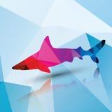 Геометрическая полигональная акула, дизайн картины Стоковое Изображение