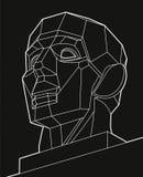Геометрическая прерванная человеческая голова, белые линии сторона на черной предпосылке Низкий поли объект вектора, дизайн векто Стоковые Изображения
