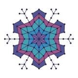 Геометрическая снежинка с линиями и кругами Стоковые Изображения
