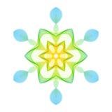 Геометрическая стилизованная шестиугольная снежинка на белой предпосылке иллюстрация вектора