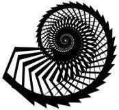 Геометрическая, угловая улитка, винтовая линия, элемент волюты изолированный на whit Стоковая Фотография RF