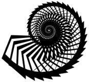Геометрическая, угловая улитка, винтовая линия, элемент волюты изолированный на whit Стоковая Фотография