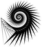 Геометрическая, угловая улитка, винтовая линия, элемент волюты изолированный на whit Стоковые Изображения RF