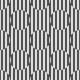 Геометрическая черно-белая картина нашивок и кругов Стоковое Изображение RF
