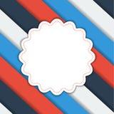 Геометрическая striped предпосылка с ярлыком цветка Стоковые Изображения RF