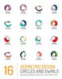 Геометрические абстрактные круги и комплект значка свирлей Стоковое фото RF