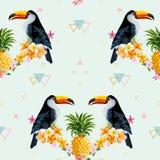 Геометрические ананас и предпосылка Toucan Тропическая птица Стоковые Фото