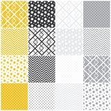 Геометрические безшовные картины: квадраты, точки польки,  Стоковое Изображение RF