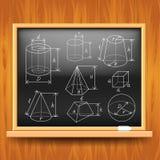 Геометрические диаграммы на черном школьном правлении иллюстрация штока