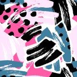 Геометрические изогнутые линии ремесло выразительное I руки граффити безшовное Стоковые Изображения