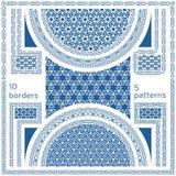 геометрические картины безшовные Комплект 10 абстрактных границ рамки Стоковое Изображение RF