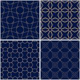 геометрические картины Комплект золотых голубых безшовных предпосылок Стоковое Изображение RF