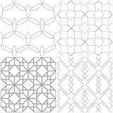 геометрические картины Комплект предпосылок света - серых и белых безшовных Стоковые Изображения RF