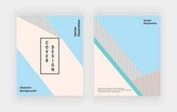 Геометрические крышки конструируют с пинком и серыми треугольниками Минималистская иллюстрация editable плана Шаблон для брошюры, бесплатная иллюстрация