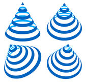 Геометрические треугольники с нашивками, линиями в угле 4 Конус с st Стоковые Фотографии RF