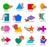 Геометрические формы с набором характеров морского животного иллюстрация вектора