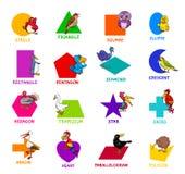 Геометрические формы с набором характеров птицы иллюстрация вектора