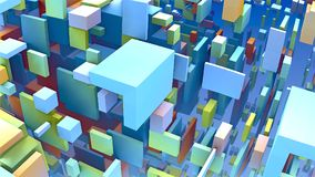 геометрические формы 3D, кубы и прямоугольники плавая в космос Стоковое Изображение RF