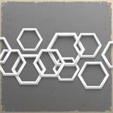 геометрические шестиугольники 3d на предпосылке grunge Стоковое Фото