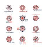 Геометрический вектор логотипа установил с картинами круговой мандалы мозаики исламскими Стоковое фото RF