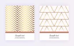 Геометрический дизайн с золотыми линиями, нашивка крышки на розовой предпосылке Современный шаблон для брошюры, карты, летчика, п иллюстрация вектора