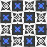 Геометрический орнамент с серыми квадратами и голубым цветком иллюстрация штока