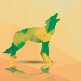 Геометрический полигональный волк, дизайн картины Стоковое фото RF