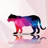 Геометрический полигональный леопард, дизайн картины Стоковые Фото