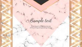Геометрический с знаменем треугольников Современные роскошь и мода конструируют с мраморной текстурой Горизонтальный шаблон для д иллюстрация вектора