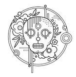 Геометрический череп с цветками в контуре черноты круга бесплатная иллюстрация
