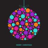 Геометрический шарик рождества сделанный красочных кругов на задней части черноты Стоковые Изображения RF