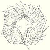 Геометрический элемент круга, нервная мотива круга случайная, угловая линия иллюстрация штока