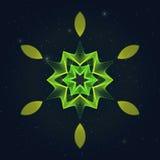 Геометрический Flamy шестиугольный символ на звёздном небе иллюстрация вектора