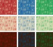 9 геометрических абстрактных картин Стоковое фото RF