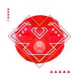 Геометрическое сердце печати битника Футуристическая линия Стоковое Изображение