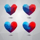 Геометрическое сердце форм Шаблон на день валентинок Стоковое фото RF